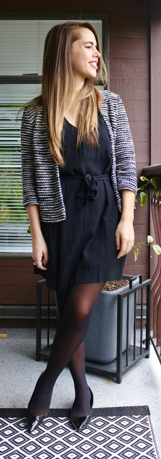 Jules in Flats - H&M Striped Blazer, Wilfred Tie-Waist Dress