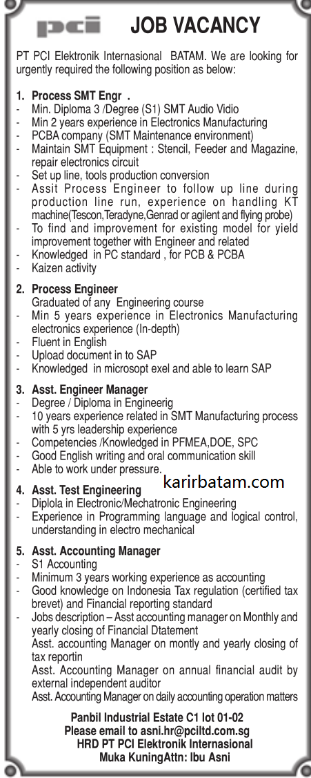 Lowongan Kerja PT. PCI Elektronik Internasional