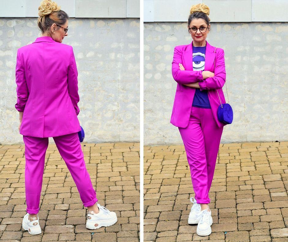 Violett-Pink-Hosenanzug-Damen