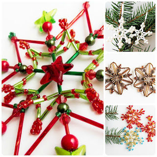 handmade korálkové zdoby na vánoční stromeček