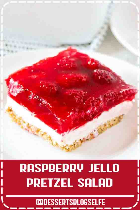 Raspberry Jello Pretzel Salad - One of my favorite jello salad recipes! The cream cheese mixture and salted pretzel crust mixed with the raspberry jello is the perfect combo. A little sweet, a little salty and a LOT of deliciousness! #DessertsBlogSelfe #recipevideo #pretzelsalad #thanksgiving #christmas #sidedish #dessert #nobake #SummerDesserts #puddings #videos