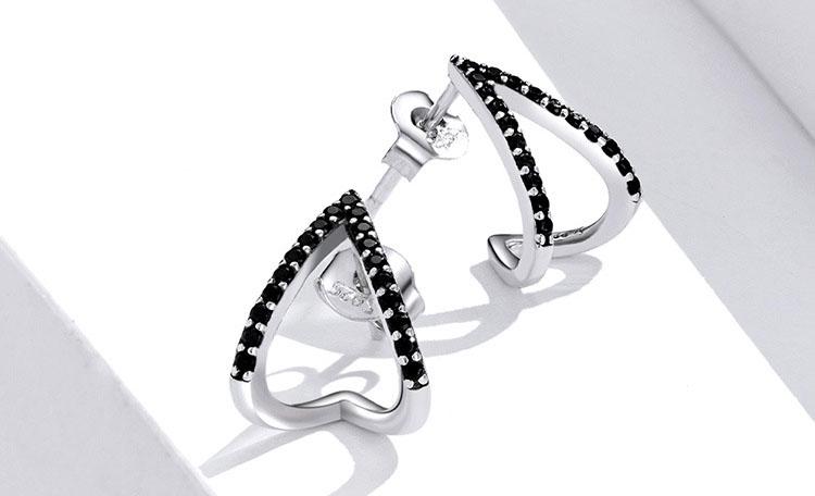 個性風V黑鋯石 925純銀耳環