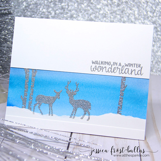 Winter deer scene card by Jessica Frost-Ballas | Serene Silhouettes stamp set by Newton's Nook Designs #newtonsnook