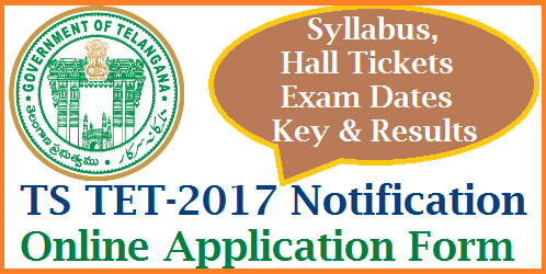 TSTET-2017/ Telangana Teachers Eligibility Test Schedule, Eligibility, Syllabus, Hall Tickets, Key Results Download @tstet.cgg.gov.in Apply Online for TSTET-2017 as Schedule for  Telangana TET is out.. Good news for intended candidates to become a teacher. Telangana Govt TSTET-2017 Notification details Date of Notification Fee payments, Online Application Last Date Download of  Hall Tickets Results and many more details revealed by the Education Department of Telangana State. TET Syllabus for Paper I and Paper II Languages and Non Languages Science and Mathematical Groups. DSC Aspirants in the State of Telangana have to be ready for the Battle to win as Govt Teacher. Telangana State Teachers Eligibility Test 2017 | Online Application form available at TET Website http://tstet.cgg.gov.in tstet-2017-telangana-teachers-eligibility-test-schedule-online-application-form-syllabus-hall-tickets-key-results-download