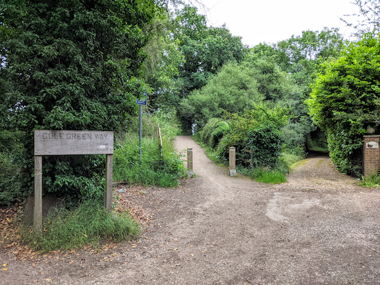 Take the track up the embankment to join The Cole Green Way