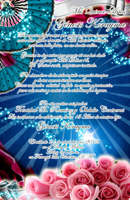 Tarjeta de Invitación Novedosa para tus 15 Años en color Azul, Rosas y Abanicos