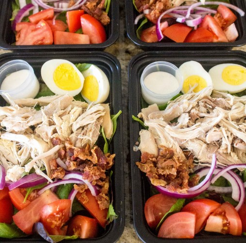 No Cook Meal Prep Chicken Cobb Salad #healthymeal #lowcarb