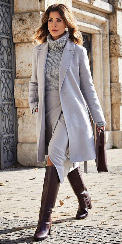 Winter is a great time to step up your personal style. See these 24 Trendy Winter Fashion Ideas for Not So Cold Days. Winter Outfit Ideas for Women via higiggle.com | grey trench coat with grey sweater and skirt | #fashion #coat #sweater #skirt