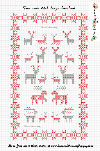 Nordic Cross Stitch Pattern Featuring Festive Reindeer. Free Cross Stitch Sampler Design Download.