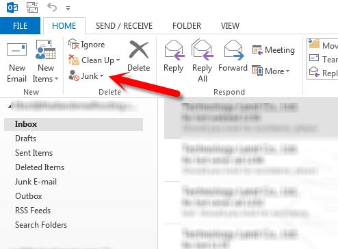 ປິດ Junk E-mail Filtering
