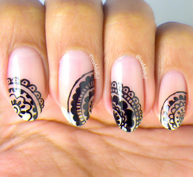Freehand Negative Space Mandala Nails