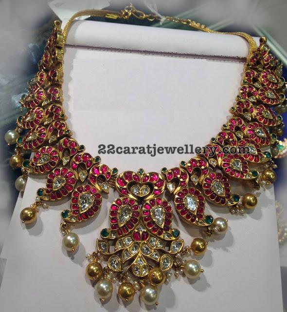 Burmese Rubies Mango Peacock Necklace