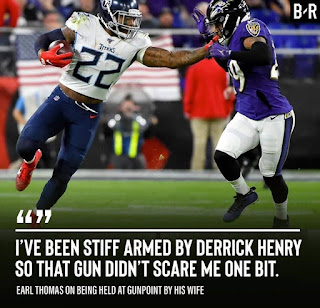 I've been stiff armed by derrick henry so that gun didn't scare me one bit.