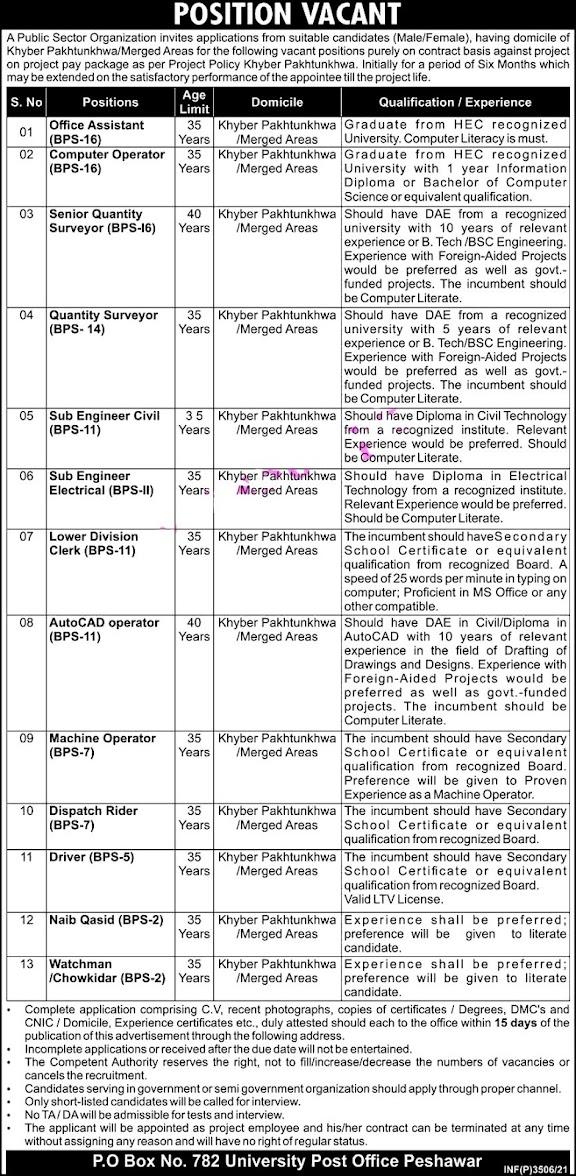 PO Box No 782 Peshawar Latest Jobs Public Sector Organization KPK Jobs 2021