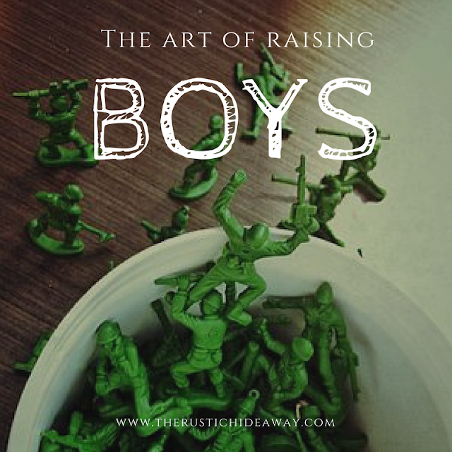 Image of army men on table, art of raising boys