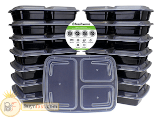 15-Pack with 3 Compartment Bento Lunch Boxes with Lids by Freshware