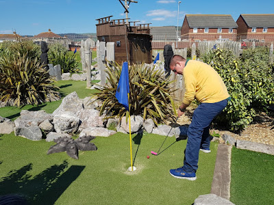 Playing the Pirate Cove Adventure Golf course in Aberavon, Port Talbot on National Miniature Golf Day last year