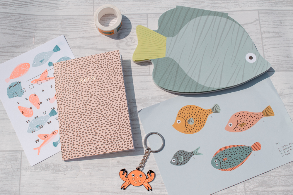 Various sea creature themed stationery