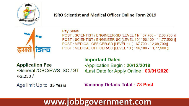 ISRO Scientist and Medical Officer Online Form 2019