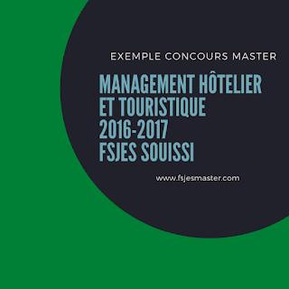 Exemple Concours Master Management Hôtelier et Touristique 2016-2017 - Fsjes Souissi