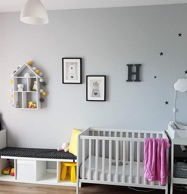 żółto - szary pokój dla dziewczynki - jak urządziłam pokój Hanulki?