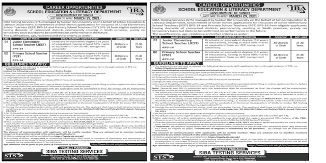 Education and Literacy Department Teachers Jobs 2021 For Primary School Teachers PST and Junior Elementary school Teachers JEST