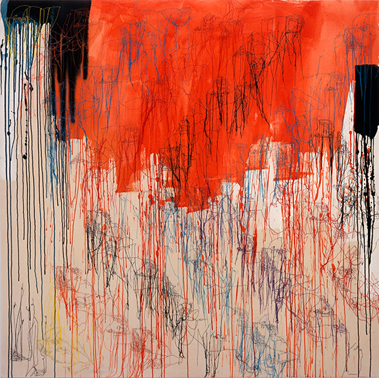 Ghada Amer Red Diagonales, 2000  Acrylic, embroidery, and gel medium on canvas