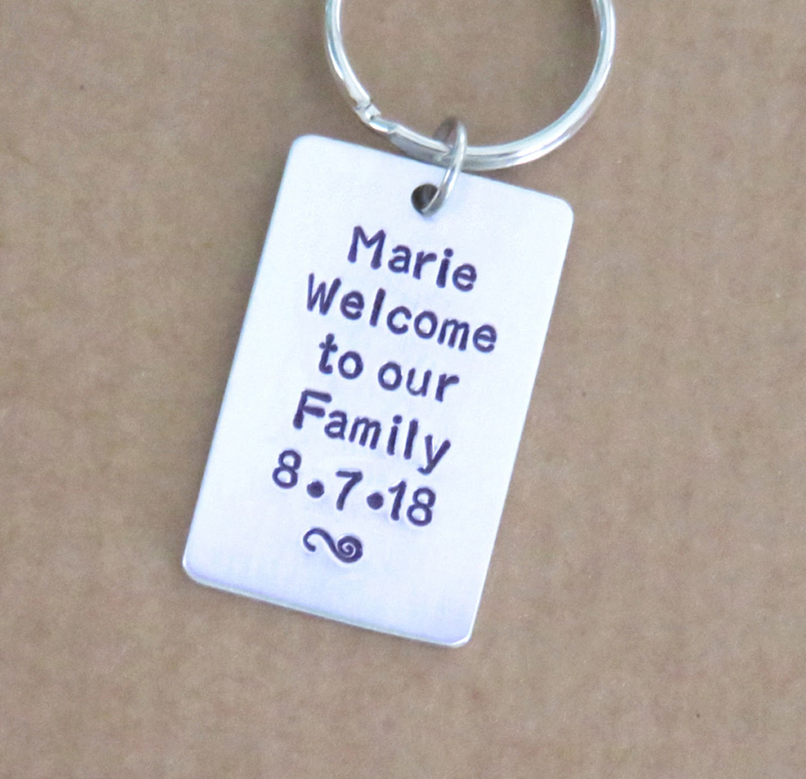 Stamped Personalized Wedding Gifts Jewelry Key Chains Funny Cards