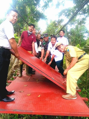 Camat Merapi Timur Hadiri Pelaksanaan Rehab Jembatan Gantung di Desa Tanjung Jambu