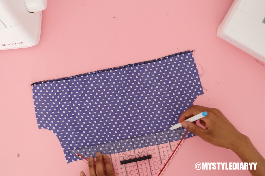 DIY ruffle off shoulder dress step 4