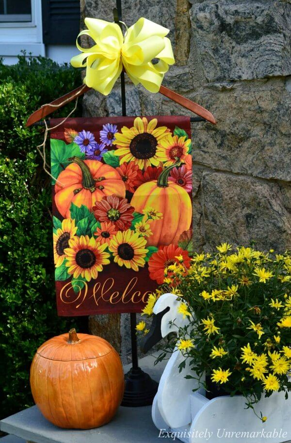 Garden Flag Art Work Fall Decor, Pumpkin and Swan Planter On the Front Porch