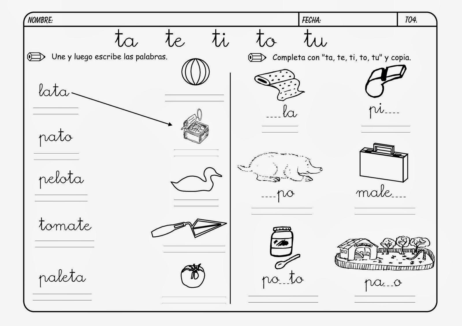 Aprendo Y Me Divierto En El Preescolar Consonante T T