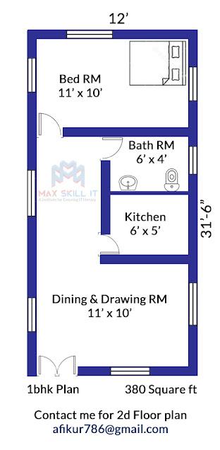 1bhk floor plan design
