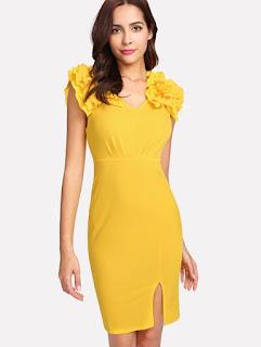 SHEIN Vestido amarillo con volantes y parte trasera en V
