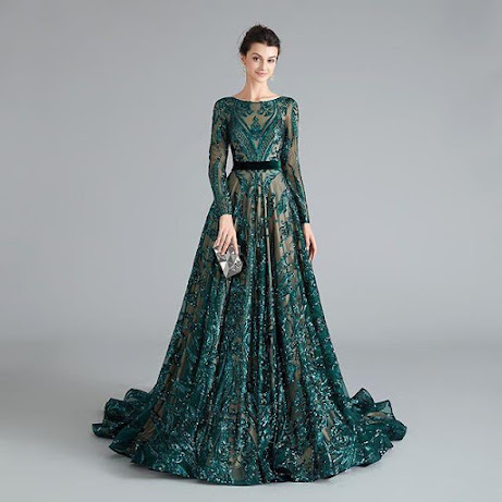 Sexy Long Sleeves Green Lace Prom Dresses Open back