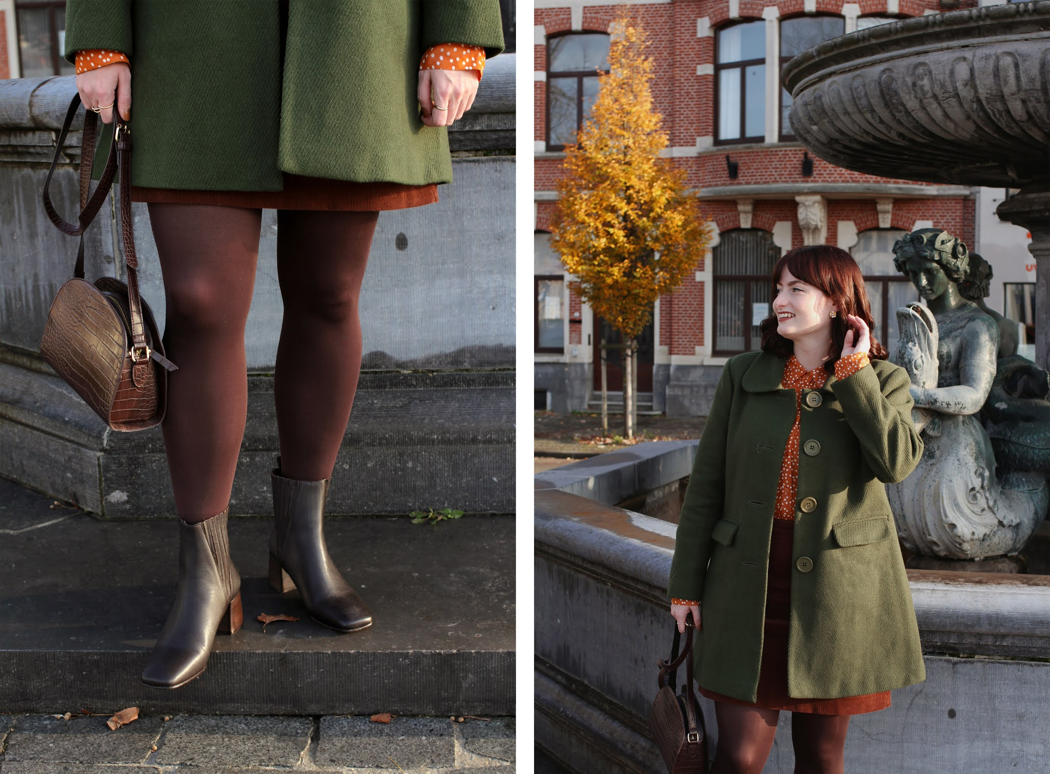 An autumnal outfit featuring a Princess Highway olive green coat