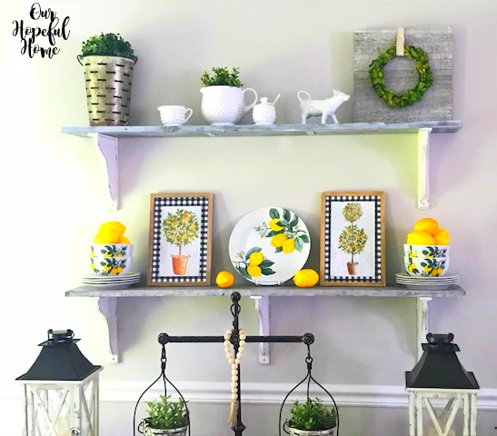 buffalo check wall art dining room farmhouse shelves