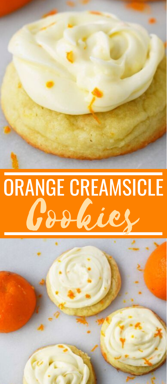 Orange Creamsicle Cookies #cookies #desserts #baking #recipes #frosting
