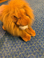 soft lion puppet sitting on floor