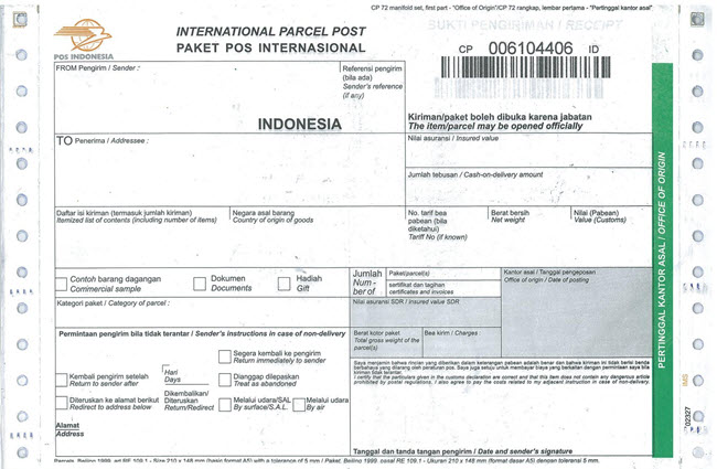 Petunjuk pengisian formulir pengiriman barang lewat Pos  Jasa pengiriman barang lewat POS merupakan jasa pengiriman paket yang sudah ada sejak lama di Indonesia. Saat ini, POS Indonesia tidak hanya melayani jasa pengiriman barang atau paket saja. Namun sudah banyak layanan dibuka oleh Pos Indonesia, seperti menerima pembayaran listri, air PAM dll. Dibawah ini salah satu contoh formulir pengiriman barang yang harus diisi.