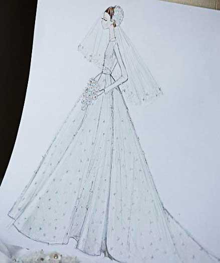 Desenho do vestido da Miranda Kerr