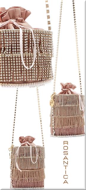 Rosantica pink Ginger crystal-embellished satin bucket bag #bags #eveningbags #rosantica #brilliantluxury