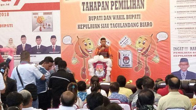 Foto launching kegiatan KPUD Sitaro untuk Tahapan Pilkada 2018