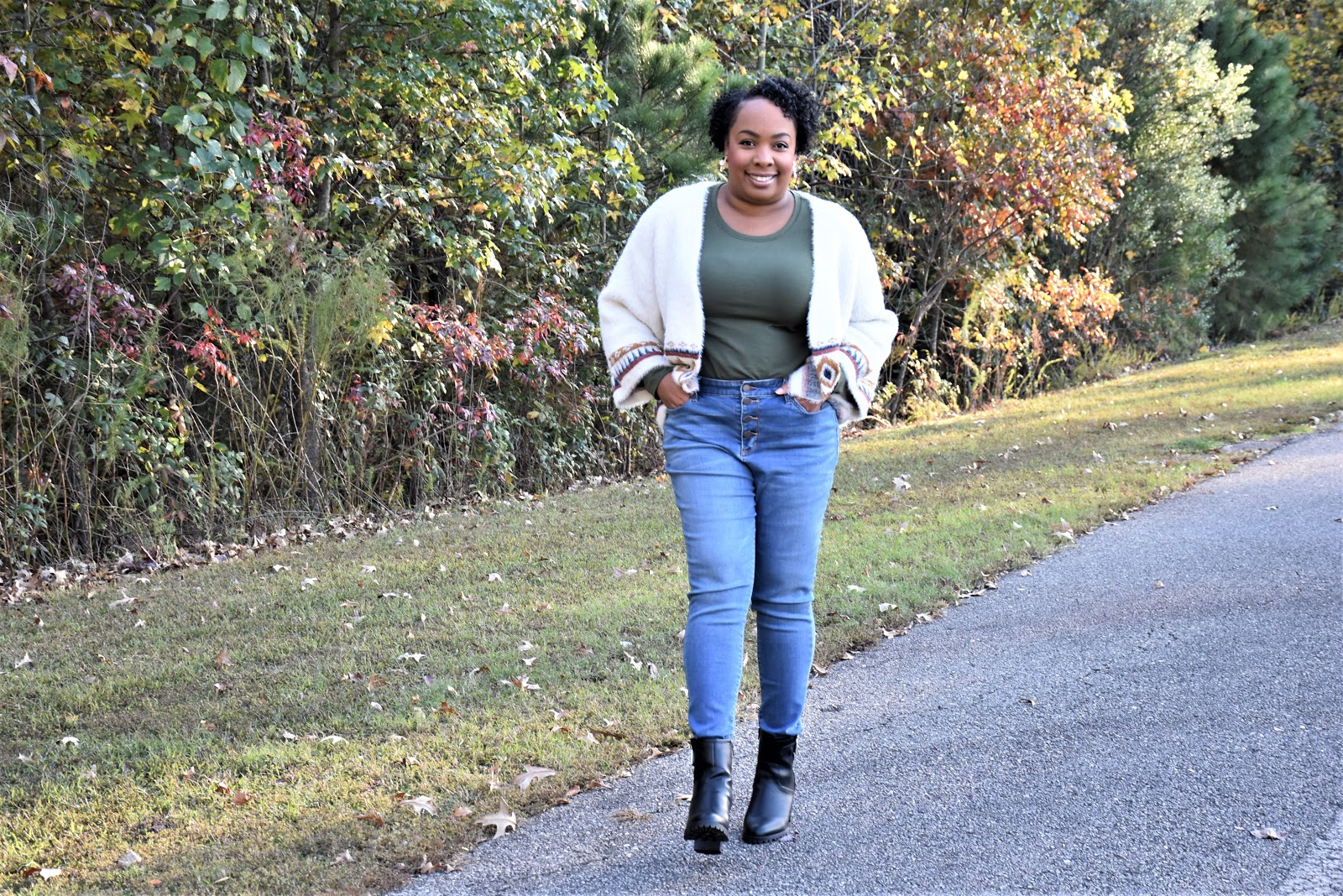 a.n.a. Eyelash Cardigan with Tee, Jegging, and Boots from JCPenney