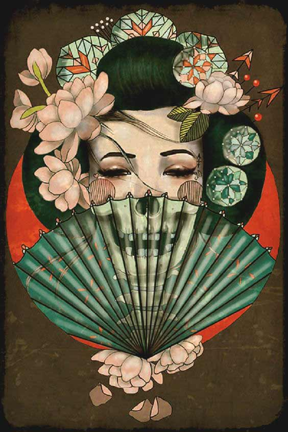Geisha skull tattoo designs with rose
