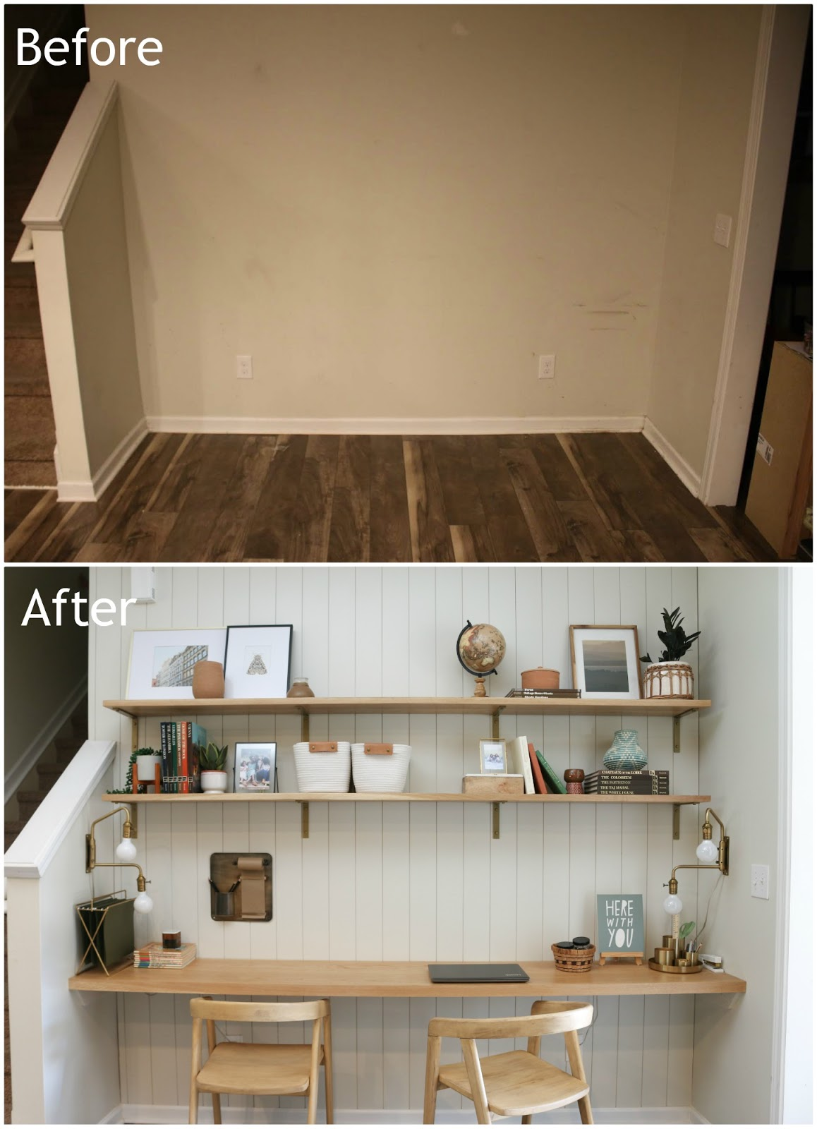before and after of a blank wall turned into a DIY office nook
