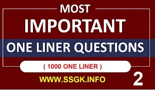 ONE LINER 1000 QUESTIONS PART-2 ALL EXAM MATERIAL