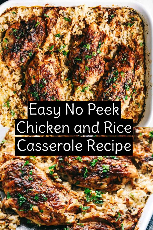 Easy No Peek Chicken and Rice Casserole is full of comfort and tender, fall apart chicken overtopping a flavorful rice that makes this meal a family favorite! #familymeals #nopeek #chickenrecipe #chicken #easychickenrecipe #casserole #friedrice #maindish #dish #dinnerrecipe #easydinnerrecipe