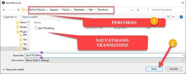 salvataggio della transizione personalizzata