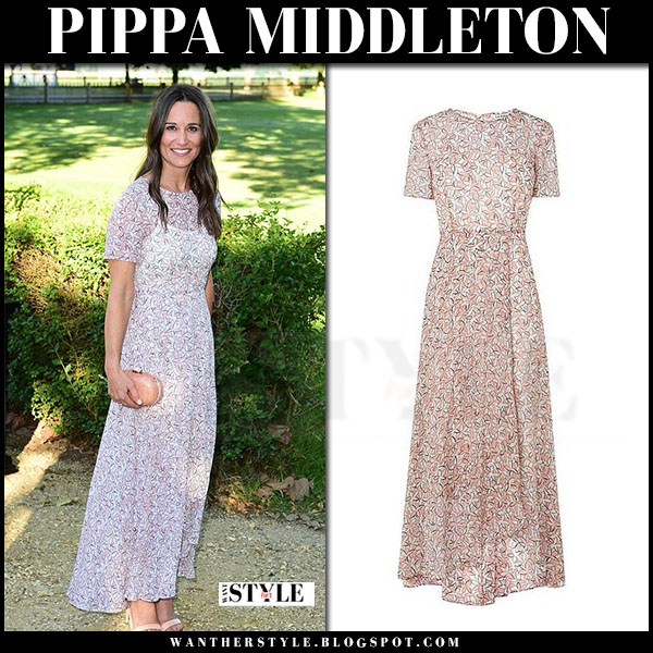 Pippa Middleton in floral print maxi dress lk bennett karo what she wore